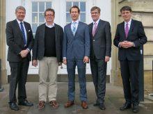 Prof. Dr. Karl Friedrich Jakob (Vorsitzender des Vorstands der RWTÜV-Stiftung), Prof. Dr. Thomas Hoeren, Prof. Dr. Nikolas Guggenberger, Prof. Dr. Johannes Wessels (Rektor), Dr. Elmar Legge (Stellvertretender Vorsitzender des Vorstands der RWTÜV-Stiftung)